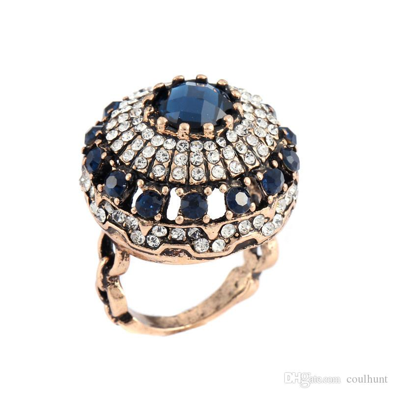 2019 2018 Luxury Big Natural Stone Ring Vintage Crystal Antique ... b6d63ad2d42c