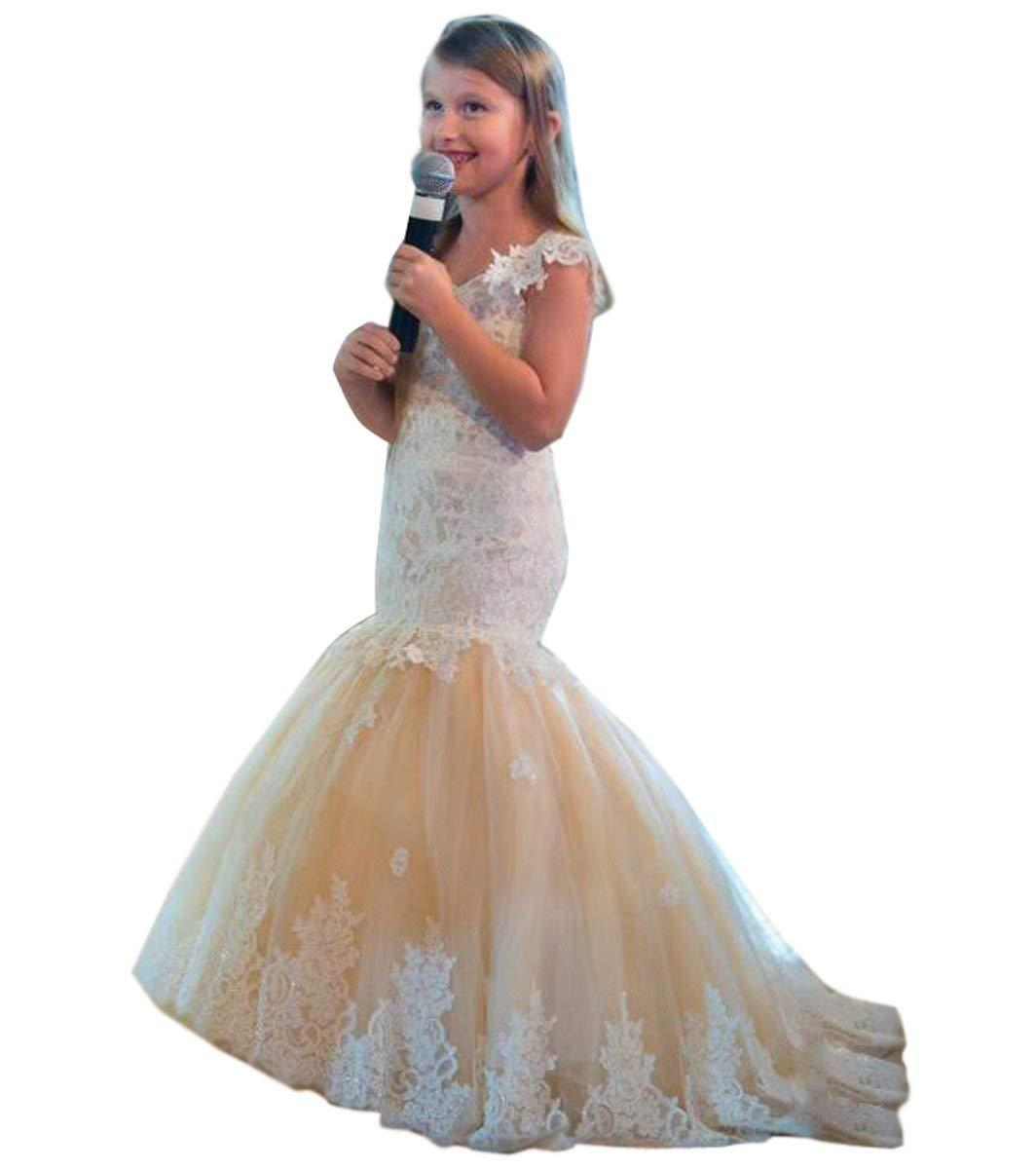 Lace Mermaid Prom Pageant Dress For Girls Champagne Flower Girls