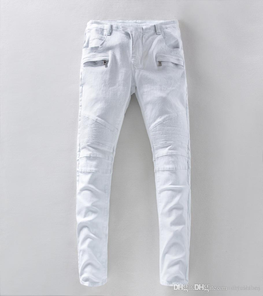 7856e215f953 White Men Draped Biker Jeans Cool Slim Fit Pencil Pants Jean ...