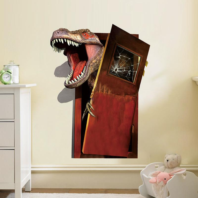 * newest 3d cartoon dinosaurs through the wall stickers home decoration diy cartoon kids room wall decal movie mural art poster