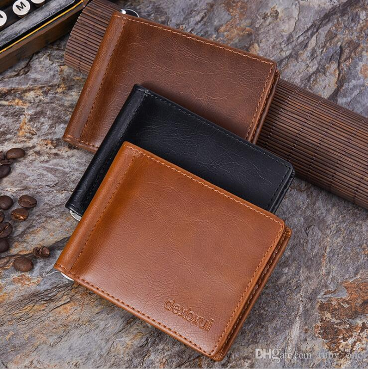 brand new d5275 eba11 Men Slim Credit Card Holder Mini Wallet Men s Simple pu Leather ID Case  Purse Bag Pouch Cards Holders LJJK906