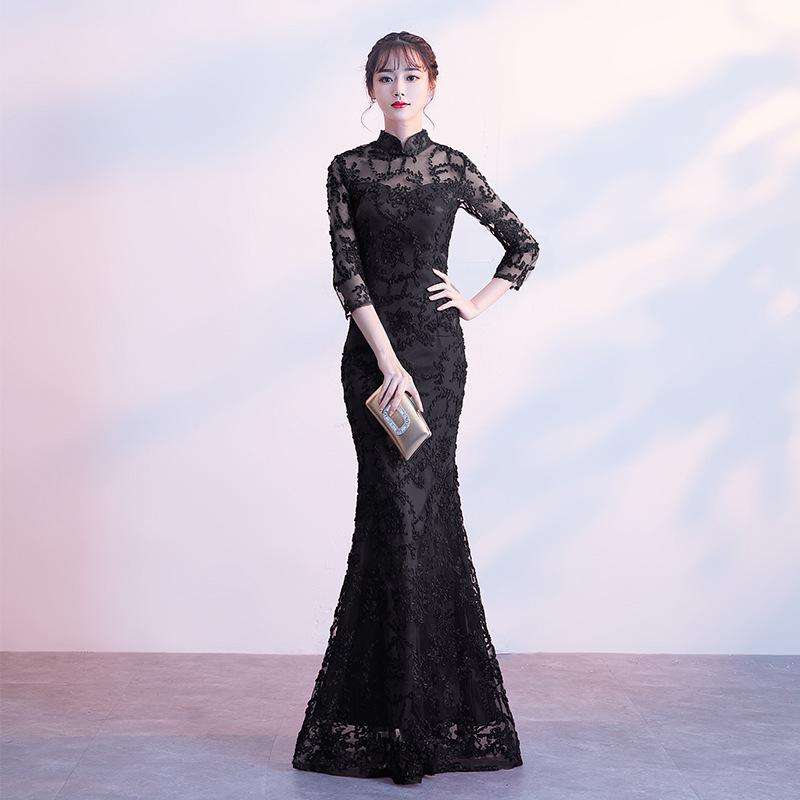 f272f2d0003 2019 2018 Black Chinese Wedding Dress Female Long Long Sleeve Cheongsam  Slim Chinese Traditional Dress Women Qipao For Wedding Party From Rebecco