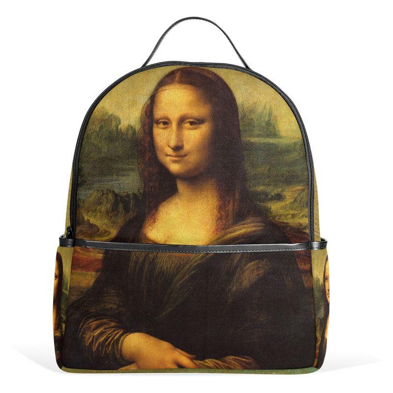 337a0a0182 Mona Lisa Backpack Da Vinci Painting Female Women Bags Notebook Bags For  Teenager Girls Boys School Bag 12inch Travel Bag Tool Backpack Best Laptop  Backpack ...