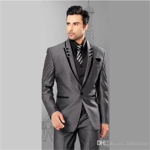 Custom Made Grey Suits For Men 3 Pieces(Jacket+Pants+Vest+Tie) Terno Masculino Groom Blazer Custom Tuxedo Man Clothes