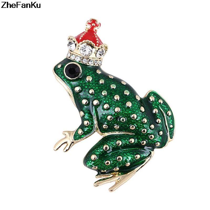 Grenouille Couronne acheter rouge couronne prince de grenouille broche bijoux alliage d