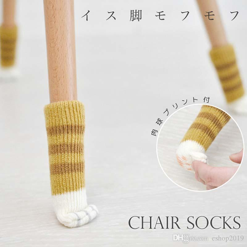 Knitted Non-slip Cat Claw Chair Table Legs Sleeve Cover Furniture Leg Socks Floor Protectors Durable Anti-static Mat Door Handle Gloves