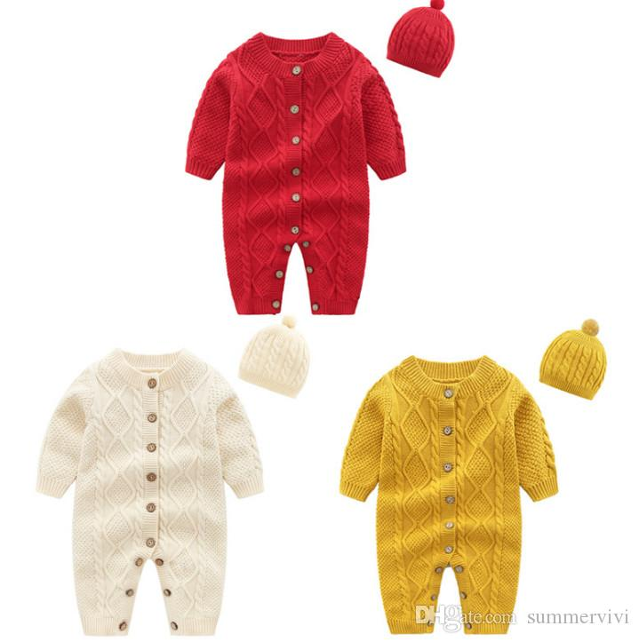 32effcd694c9 2019 Baby Kids Knitting Sweater Romper Autumn Winter Toddler Kids Twist  Knitting Long Sleeve Jumpsuit + Pompom Hats Little Boy Girl Romper A01046  From ...