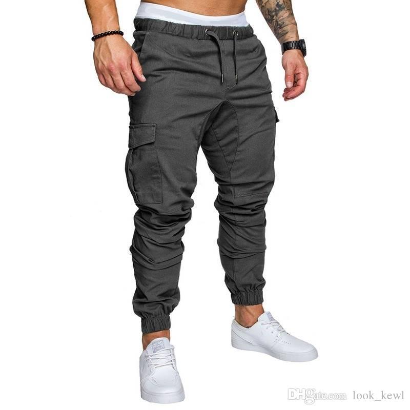 Compre Pantalones Casuales De Los Hombres Hip Hop Jogger Stretch Deportes  Slim Fit Tether Elástico Pantalones A  23.2 Del Look kewl  1a6133f1a5f