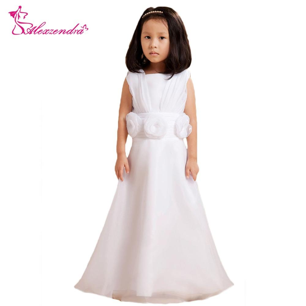 Wholesale White Cute Flower Girls Dresses With Bow Cute Girls First