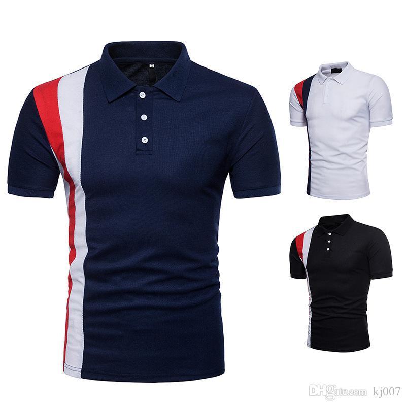 c83b00db73059 Acheter Polo Shirt Noir Rayé Design Chemises Polo Marques Cou Cou T Shirts  De Haute Qualité Coton Populaires Chemises Nouveau Shorts De Mode Pour  Hommes De ...