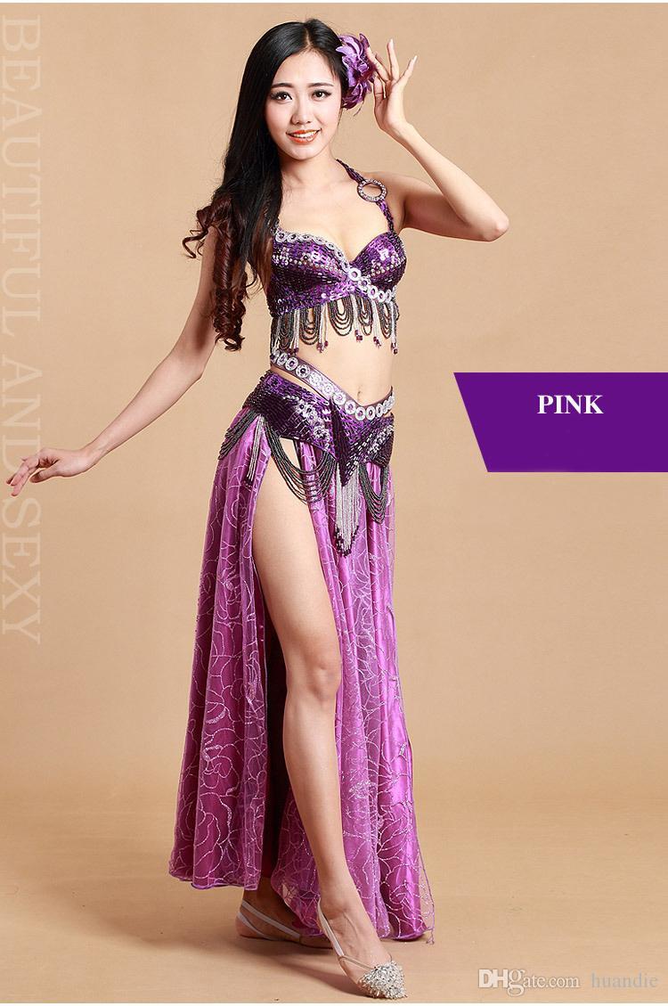 Heiße neue farbenfrohe arabische Bauchtanz Kleidung Bauchtanz Anzug Bauchtanz Performance Coat + Hüftgurt