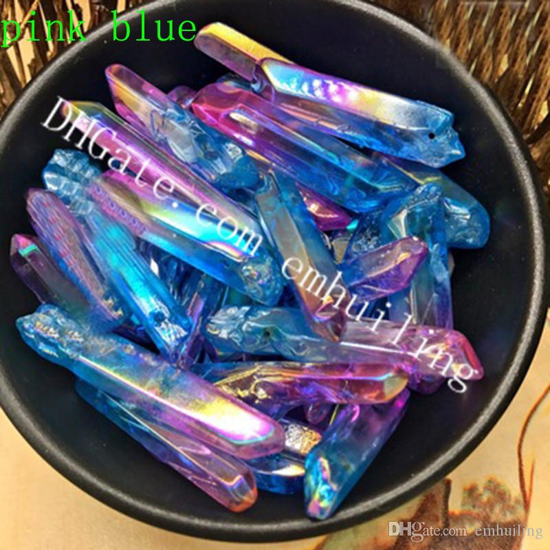 Hot Two Colors Patchwork Titanium Coated Rock Crystal Points Quartz Polished Sticks Spikes Point Beads Top Drilled Charm Pendant