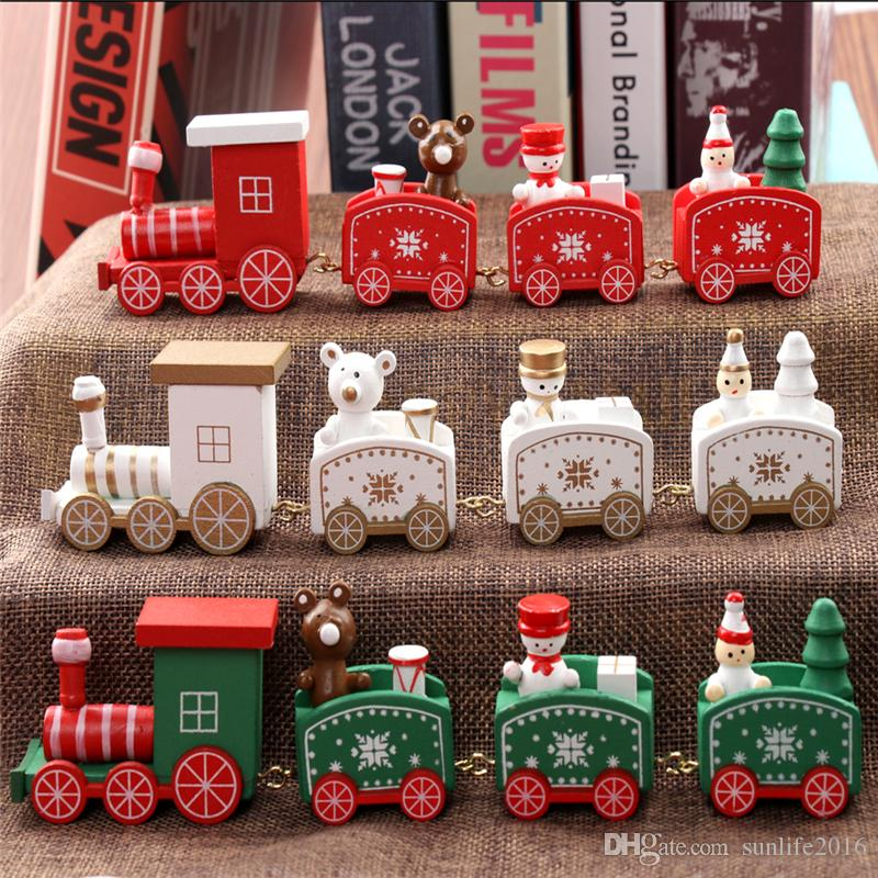 2018 new christmas train painted wood christmas decoration for home with santabear xmas kid toys gift ornament navidad new year gift bh197 from sunlife2016 - Christmas Train Decoration