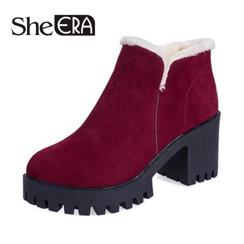 7e68e3b2572 Compre Botas Mulheres Ankle Boots Nova Moda Plataforma Cunha Flock Inverno  Quente Botas De Neve Sapatos Para Calçados Femininos Senhora 7.5 Cm Sapatos  De ...