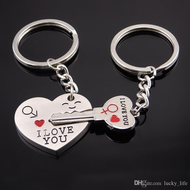 1 Para Paar Ich Liebe Sie Brief Keychain Liebhaber Silber Liebe Schlüsselanhänger Nette Schlüssel Kette Hardware