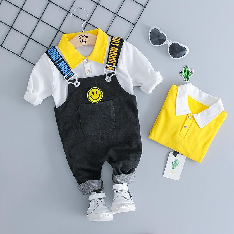 285ecd601692 2018 Autumn Girl Boy Clothing Sets Baby Clothes Suits Infant Lapel T ...