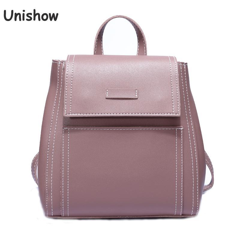 6dcdd492d4 Unishow New Fashion Women Backpack 2018 Solid Casual Pu Leather Backpack  Small Lady Female School Bag Young Girl Travel Backpack Cute Backpacks From  ...