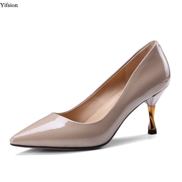 673b371fc6e Yifsion Women Leather Pumps Stiletto High Heel Pumps Pointed Toe Black Wine  Red Apricot Party Shoes Ladies Plus US Size 3 10.5 Ladies Shoes Loafers For  Men ...
