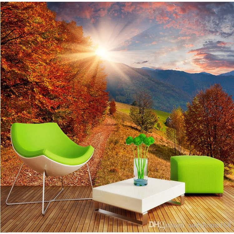 3d Large Wall Wallpaper Mural HD Deciduous Forest Sunlight Scenic Walking Park Chair Backdrop Custom Silk Photo Paper Backgrounds Widescreen