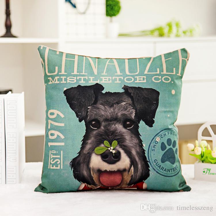 Adorável dog padrão fronhas linha de impressão Digital sofá fronha Home office capa de almofada quadrada Grande cão amante presente
