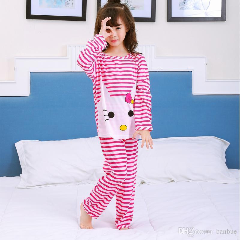 3eb1c7c6ce94 Girls Home Clothing Sets Kids Stripe Pink Nightwear Suits Sleepwear ...