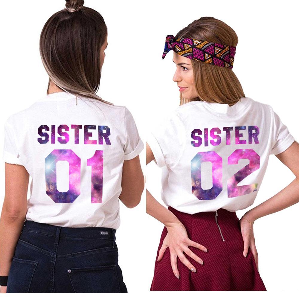 77067159e33 Gift For Sister Matching Sister 01 02 Shirts Girls Bff T Shirt Femme Tumblr  Women Summer Clothes T Shirt Cotton Best Friend Tees Find A Shirt Shirts T  ...
