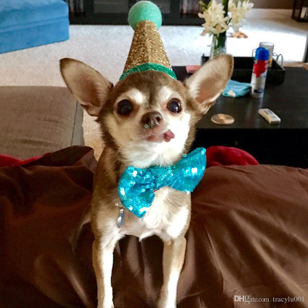2019 2018 New Arrivials Sequin Solid Color Pet Crown Bow Tie Dog Birthday Hat Party Costume Puppy Headwear Accessories From Tracylu001 3115