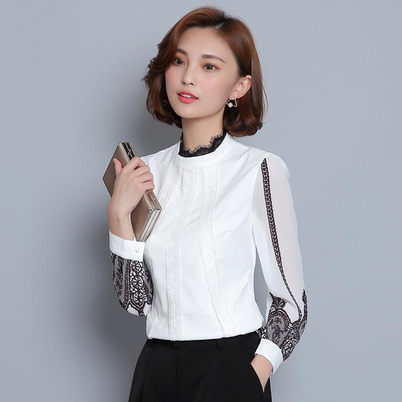 2018 New Autumn Women Shirts Print Full Sleeve Lace Chiffon Stand Neck Slim Blouse Shirt White 6633