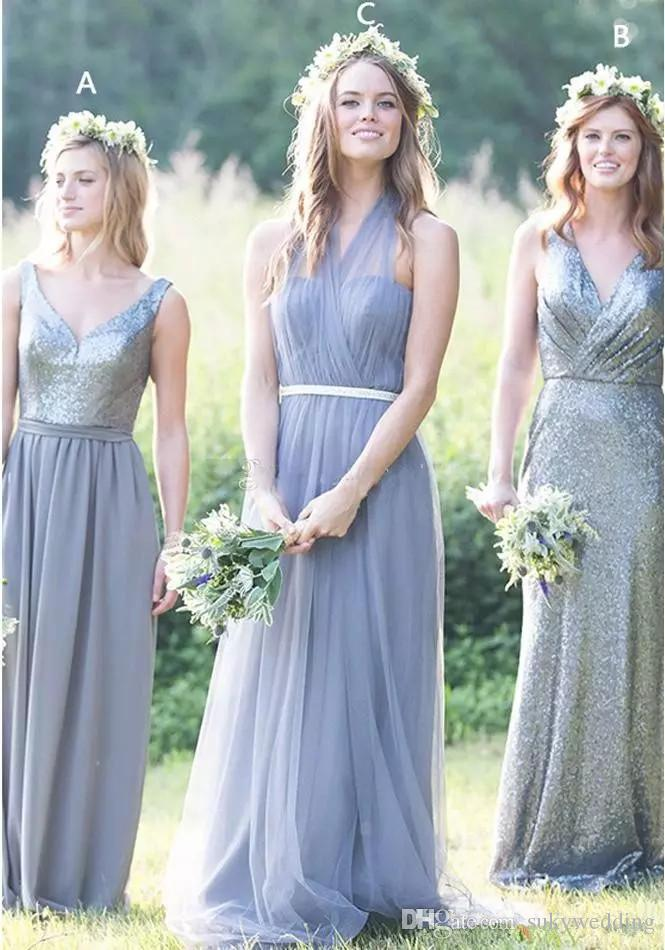 374f9c84467 Dusty Blue Tulle Sequined Bridesmaid Dresses Floor Length Halter Pleated  Gray Wedding Party Dress V Neck Chiffon Long Bridesmaids Gowns Beige  Bridesmaid ...