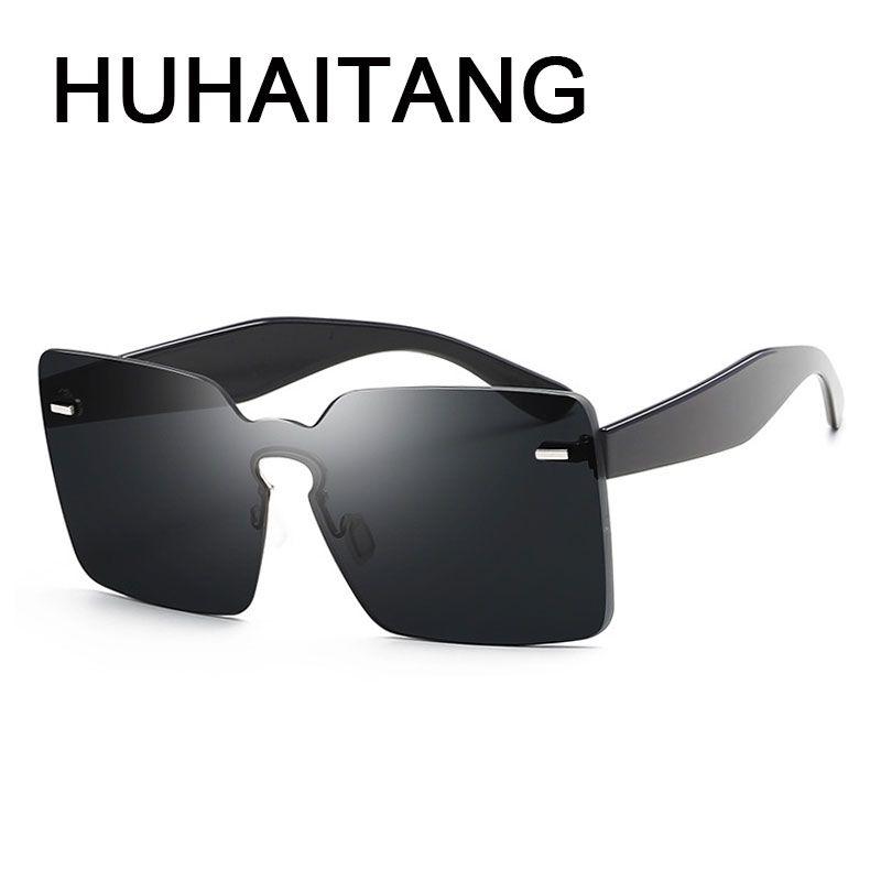 Compre HUHAITANG Rebites De Luxo Oversized Óculos De Sol Das Mulheres Homens  Quadrados Óculos De Sol Sem Moldura Para Óculos De Designer De Alta  Qualidade ... 2beb4fdbc6