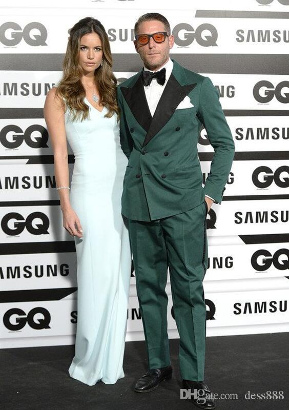 Custom Dark Green Men Suit Double Breasted Slim Fit Groom Tuxedo Formal Prom/Party Suits Jacket+Pants