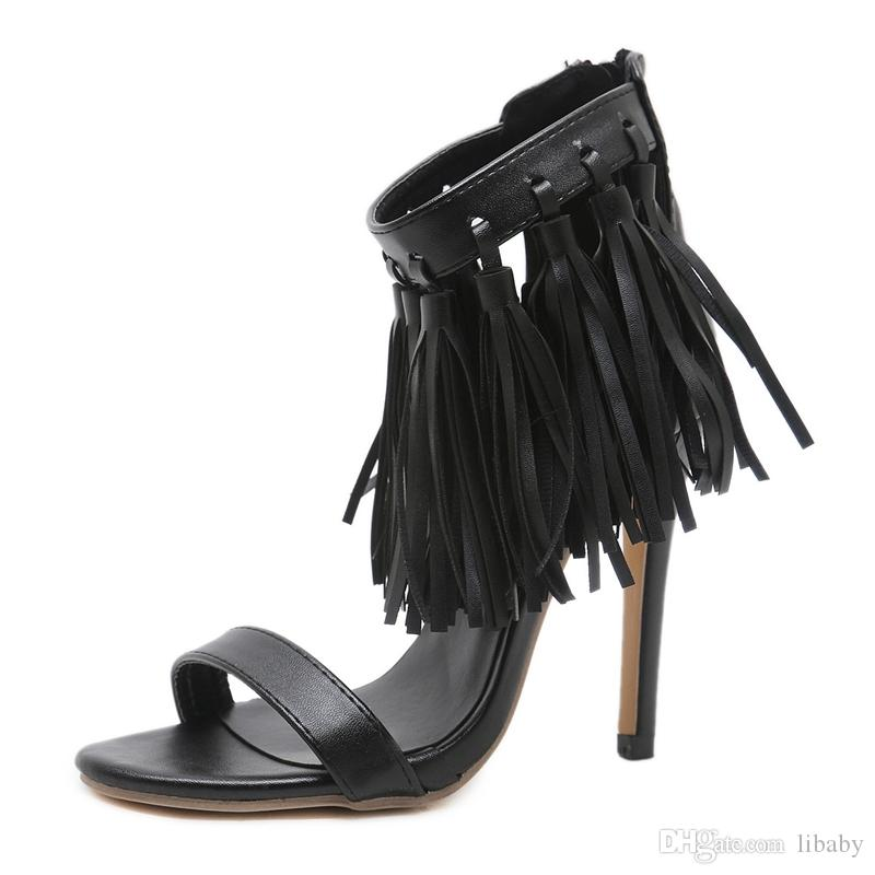 New women's shoes wind grass group high-heeled sandals party wedding shoes sexy black tassel high heels best quality 11.5cm