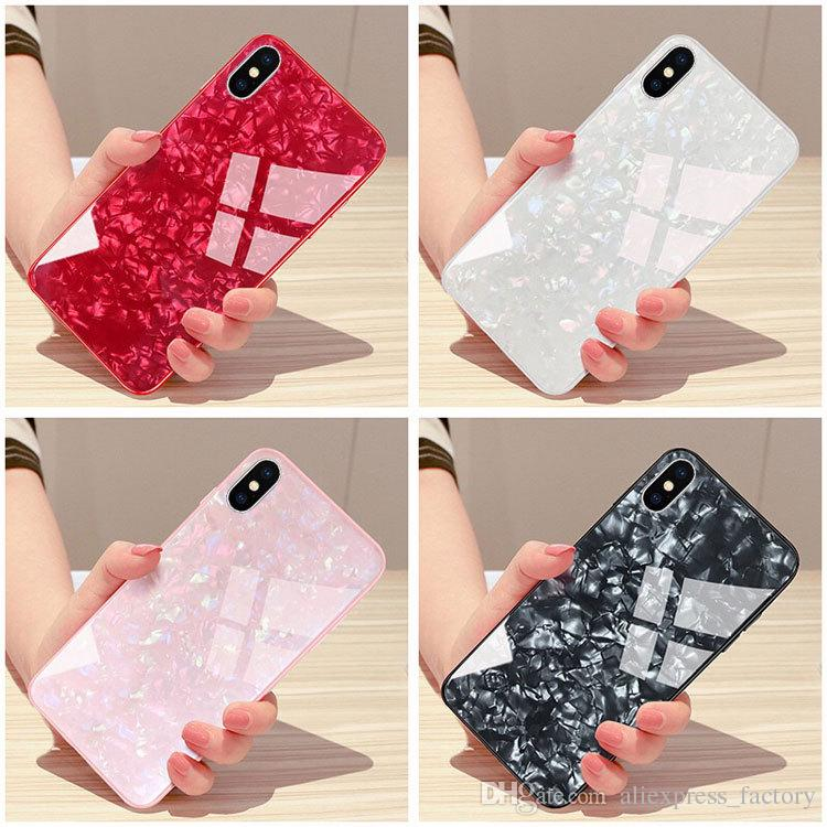 the best attitude ce99c f0884 Marble Bling Soft TPU Tempered Glass Case Cover For iPhone X 8 7 6 Plus  Huawei P20 Lite Mate 10 Pro Xiaomi Mi 6X Note 3 Mix 2 2S Redmi 5 S2