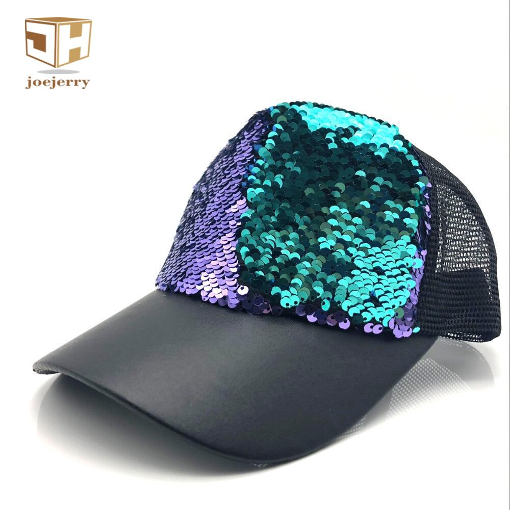 c8d796d18f6 JOEJERRY Sequin Baseball Cap Women Glitter Youth Hat Leather Snapback Mens  Summer Mesh Baseball Cap 2018 47 Brand Hats Vintage Baseball Caps From  Milknew