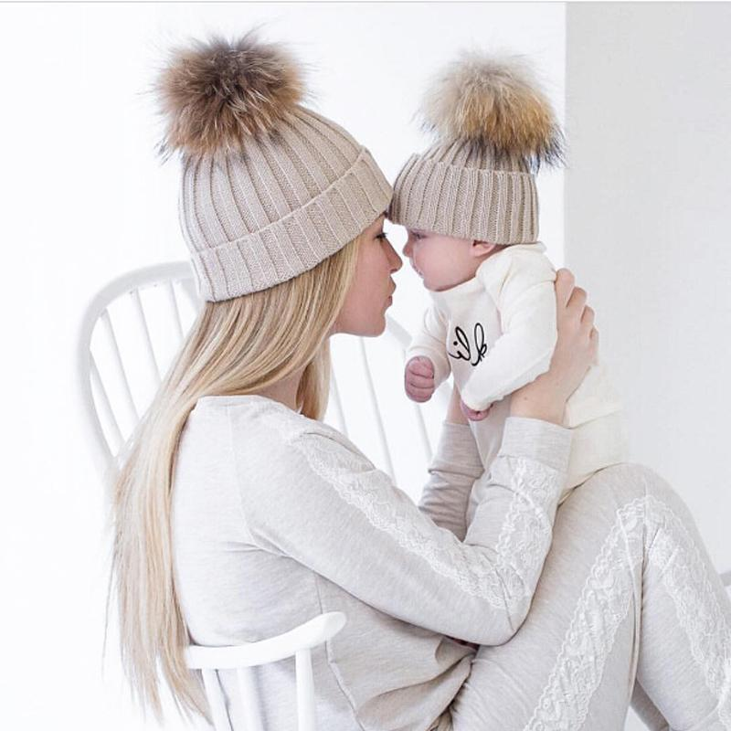 2019 Mommy And Me Winter Warm Hats Matching Knitted Beanie Hairball Cup  Mink PomPom Kids Mommy Headwear Girls Hat Caps From Duriang 6d73685cf4c