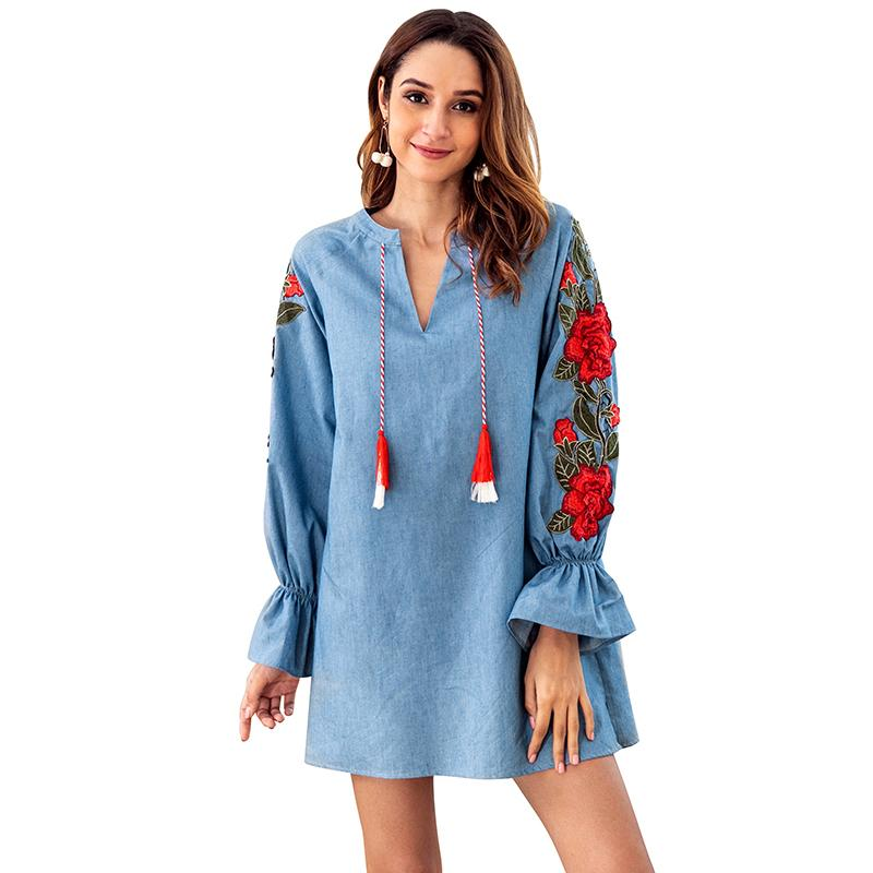 5f01e1c985b95 Vintage Women Denim Dress Floral Embroidery Flare Sleeve Short Fall Dress  2019 V Neck Tassels Casual Autumn Loose Mini Dress White Dress For Teens  Red And ...