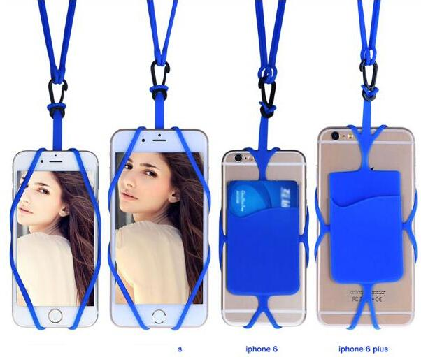 Universal card holder lanyard Silicone Holder Lanyard Necklace Wrist Strap silicone lanyard smart mobile Phone Case Cover