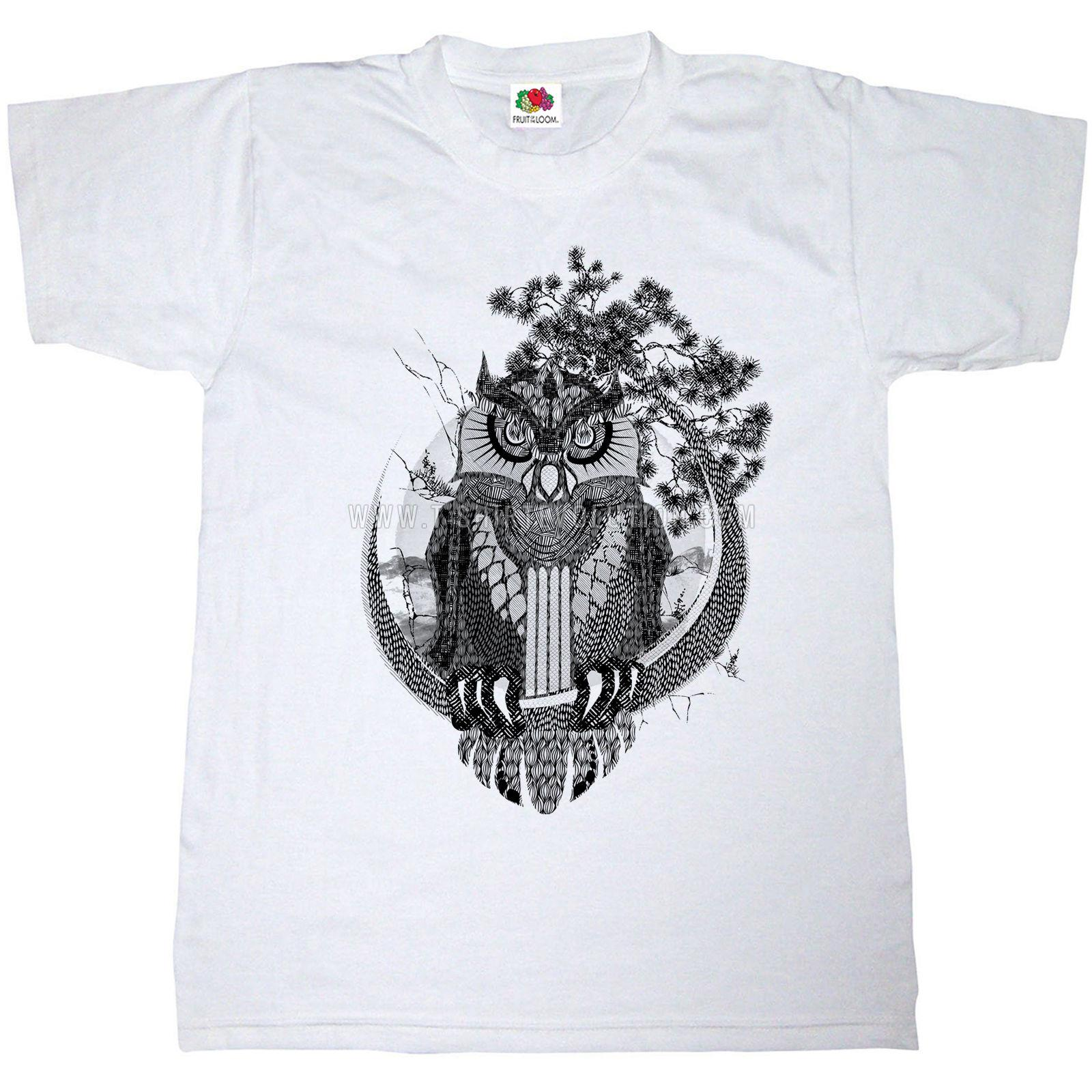 fef4f8a58 OWL T SHIRT 100% COTTON WISE OLD BIRD ANIMAL NATURE HAND DRAWN CUTE Quality T  Shirts Men Printing Short Sleeve O Neck Tshirt Fun T Shirts Online Shirts  From ...