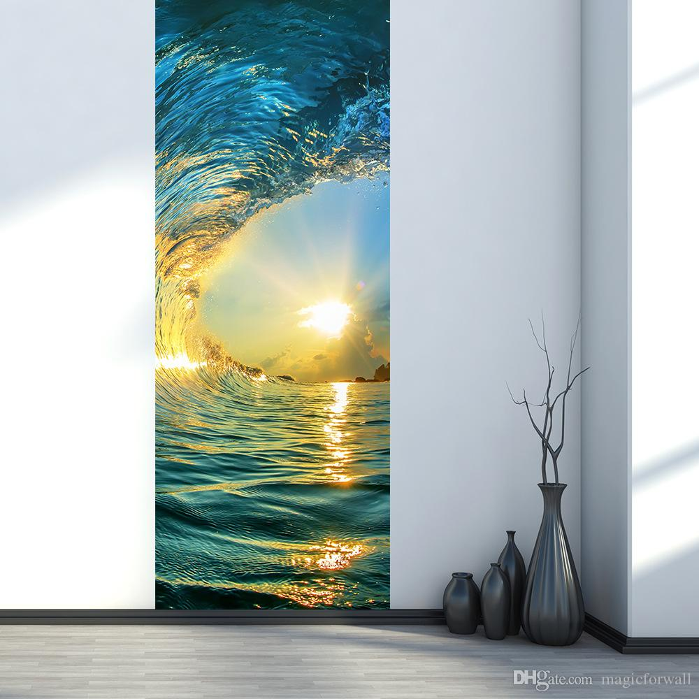 3D Simulation Door Stickers Sunset Sea Waves Mural Renovate Wall Decals Home Decoration Creative Self-adhesive Wallpaper Poster Door Tattoos
