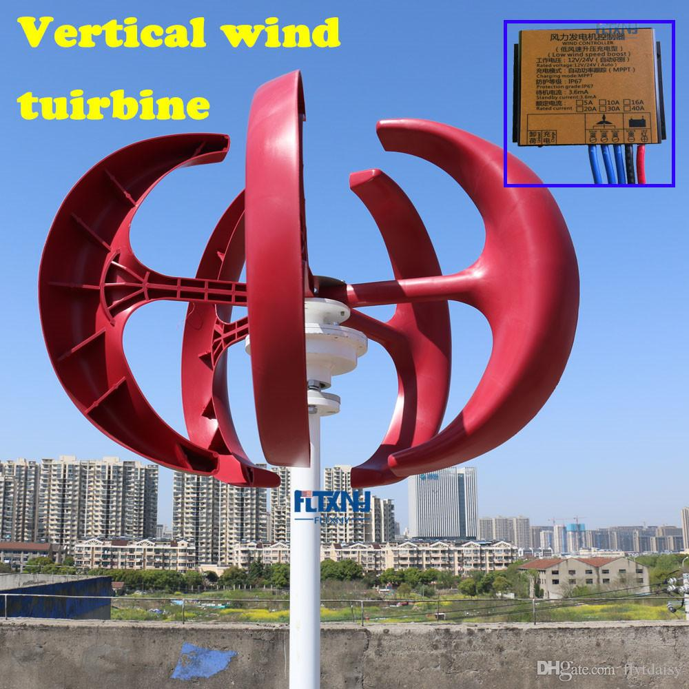 1 3m start up 400w 12v24v vertical wind turbine generator with MPPT charge  controller for home use