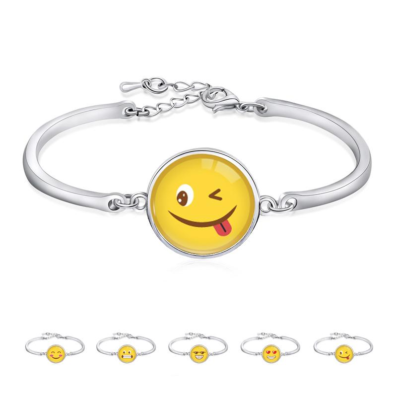 Christmas Wedding Graduation Birthday Gifts Silver Plated Open Bangle Emoji Bracelet For Women Mens White Gold Diamond From
