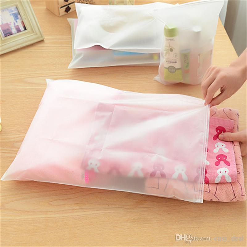Portable Travel Set Cosmetics Clothes Lingerie Bag Transparent Plastic Storage Bag Self Sealed Zipper LZ1323