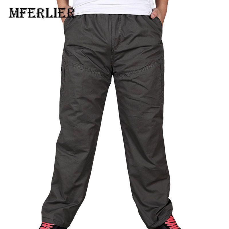 7585f7eb4e Compre MFERLIER Pantalones Sueltos Otoño Invierno 4XL 5XL 6XL Peso 122.5 Kg  De Gran Tamaño Grueso De Longitud Completa Mantener Caliente Pantalones De  Talla ...