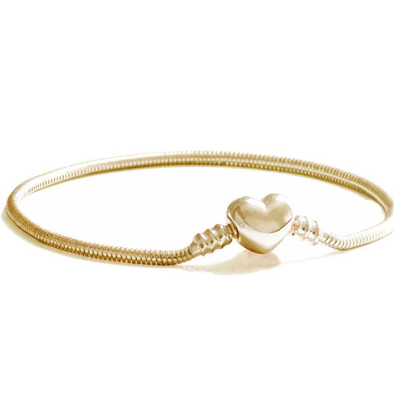 détaillant en ligne 19adc 619b4 Initial Heart Champagne Gold Charm Bracelet Tiny Snake Chain Buckle Chain  Snake Bracelet Femme Jewelry Women Fine Gift For Etsy