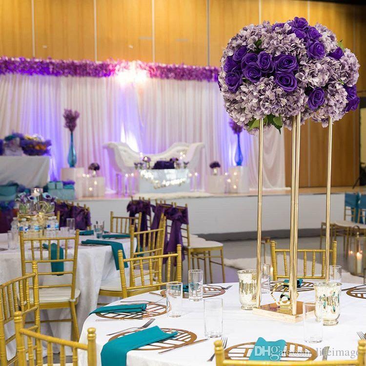 2018 Elegant Wedding Flower Vase Metal Flower Column Gold Flower