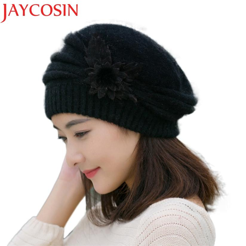 2019 Hot Berets Hat Beanie Fashion Spring Autumn Winter Hat Warm Flower Knit  Crochet Cute Casual Cap For Women s Girl Female WSep21 From Juemin 69a019792a6