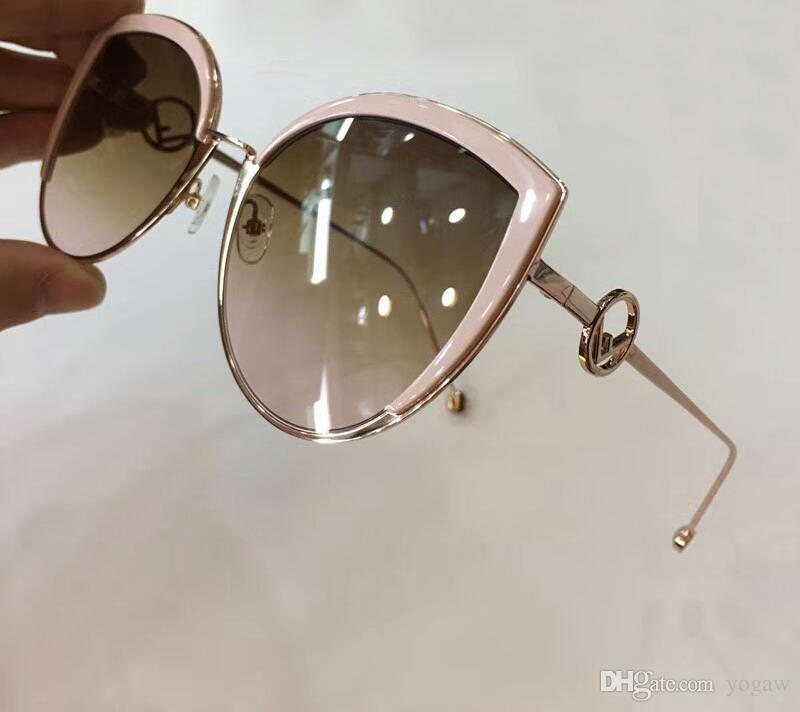 5a1c79d5586 0290 S Pink Brown Pink Shaded Cateye Sunglasses Rose Gold Sonnenbrille  Designer Sunglass Luxury Women Brand New With Box Reading Glasses  Prescription ...