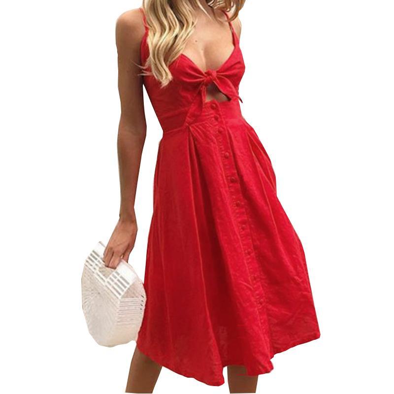 b6dcf9f788c Summer Beach Women Dresses 2019 Fashion Chic Sexy Spaghetti Strap A Line  Party Dress Bowknot Buttons Backless Kawaii Dress GV566 Designer Evening  Dress ...