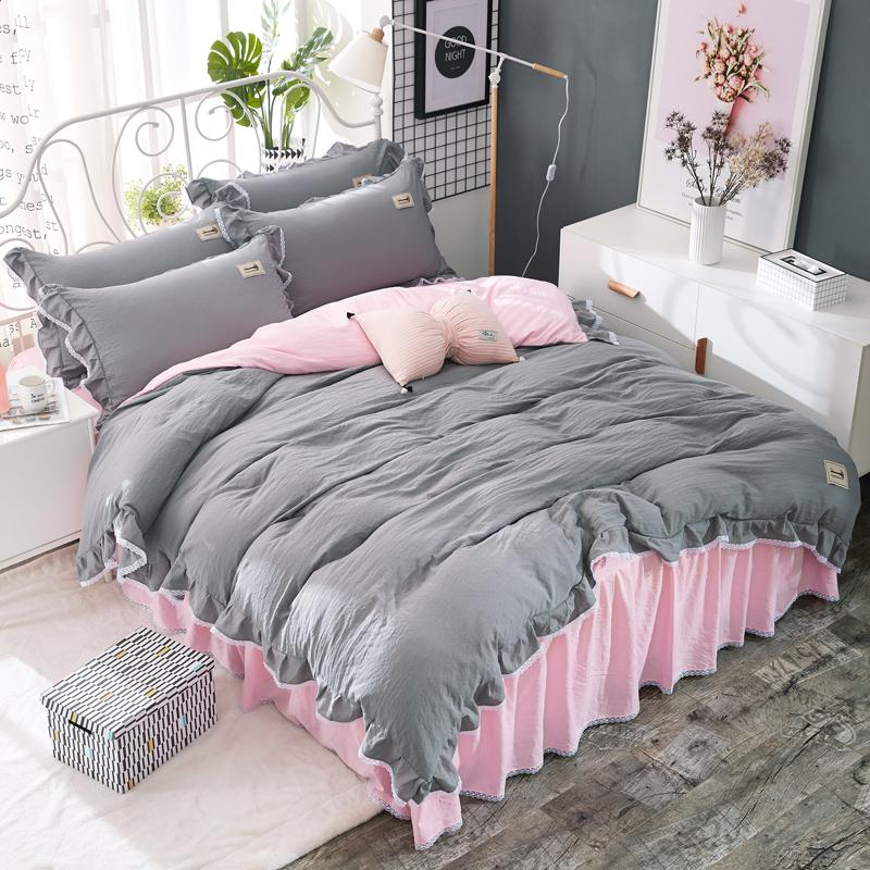 Grey Bedspread Washed Cotton Bedding Set Pink Bed Skirt Printed