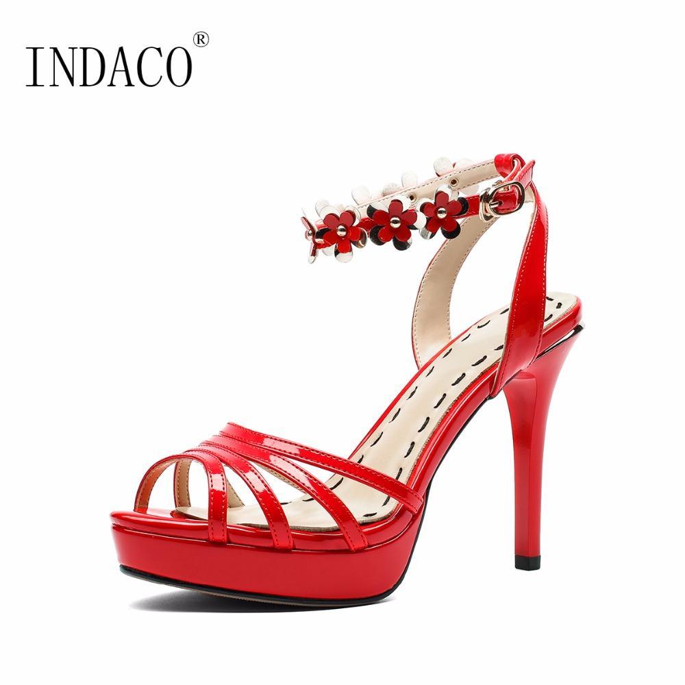 Mariage Bride À La De Sandales Plateforme Été Chaussures Sexy 2018 Fleurs 10cm Cheville Rouges eH2IbEY9WD